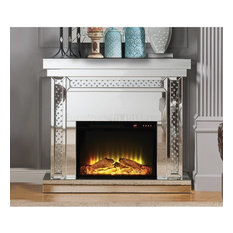 ACME Nysa Fireplace, Mirrored and Faux Crystals