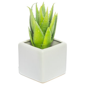 Artificial Green Aloe Vera Plant in Square White Vase