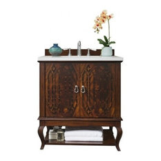 "31"" Palm Beach Single Sink Vanity With Arctic Fall Top, Dk Amber"