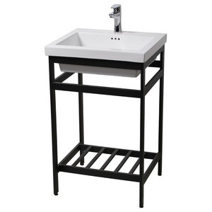 New South Beach 24 Stainless Steel Open Console with Sink Set, Satin