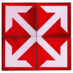Arrows Ceramic Tile Mural, 4 Tiles