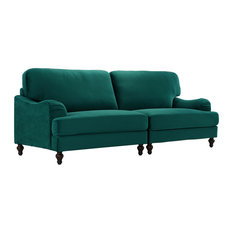 Sofamania - Classic Convertible Sofa 2-Piece Adjustable Couch in Velvet Upholstery, Green - Sofas