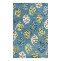 Florence 4584 Ocean Blue Leaves Rug, 5'x8'