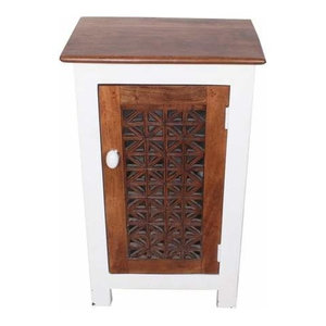 Cool Top Contemporary Solid Wood White Nightstand End Table Bedside Table  By Moroccan Furniture Bazaar ...
