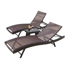 3-Pc Outdoor Chaise Lounge Set in Brown