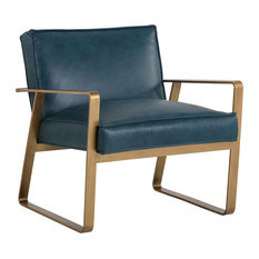 Sunpan Kristoffer Lounge Chair, Antique Brass, Peacock