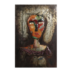 """""""Homme 2"""" Primo Mixed Media Hand Painted 3D Metal Wall Art"""