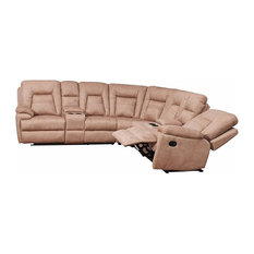 Large Reclining Sectional Sofa In Microfiber Fabric With Pillow Top Arm-Backrest