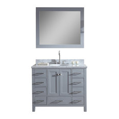 "Ariel Cambridge 43"" Single Sink Bathroom Vanity Set, Grey"