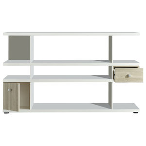 Lines Sideboard Shelf With Drawer and Cupboard, White and Oak