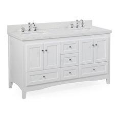 """Abbey 60"""" Bath Vanity, Base: White, Top: Quartz, Double Vanity"""