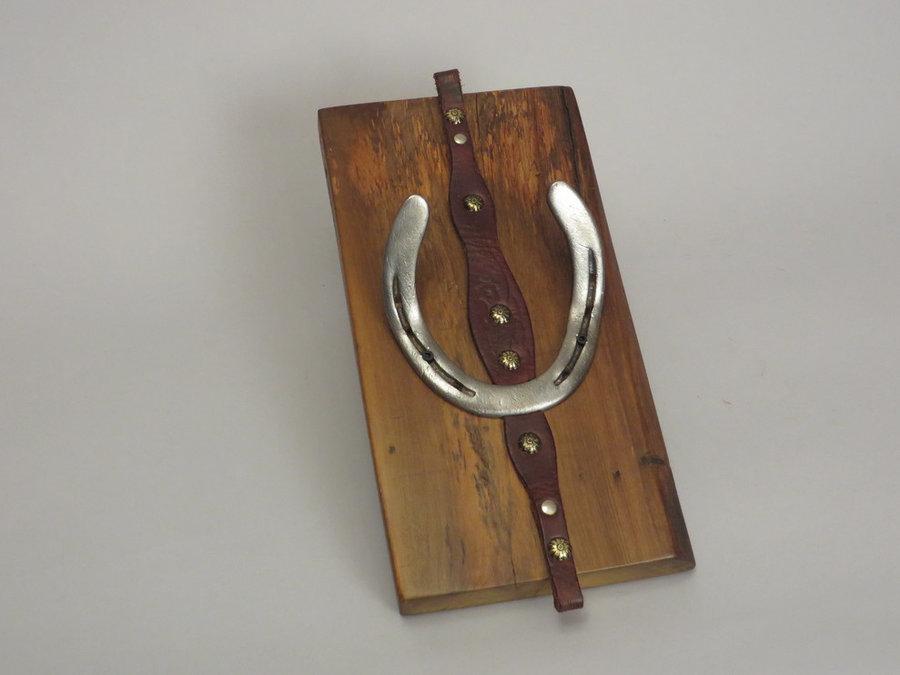 #R15032 Coat Rack Reclaimed Poplar, horseshoes, leather.
