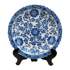"""14"""" Floral Blue and White Porcelain Plate"""
