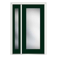 """Micro Granite Full Lite Steel 51""""x81.75"""" RH In-Swing Door With Sidelite"""