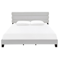 Curved Horizontally Channeled Upholstered King Bed, Silver