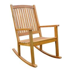 International Caravan - Acacia Large Rocking Chair, Rustic Brown - Outdoor Rocking Chairs