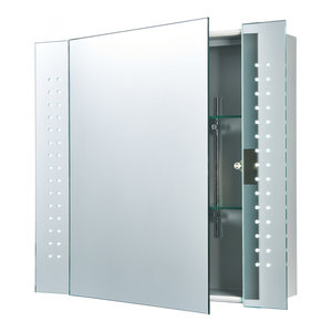 Mirrored Glass & Matt Silver Effect Paint Shaver Cabinet Mirror IP44 5W