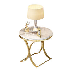 Homary Modern Round Black Faux Marble Side Table X-Base End Table in Gold, White