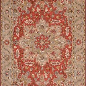 9 x12  Area Rug Rectangle Red Gray Handmade Hand-Tufted Traditional Vintage  World Bazaar Exotics