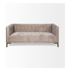 Ehan Sofa With Velvet Cover In A Soft Grey-colored Tone.