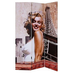 Folding Room Divider With Wooden Frame, Double Sided Marilyn Monroe Print Design