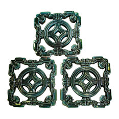 Lot of 3 Chinese Ru-Yi Coin Dark Green Blue Mix Glaze Clay Tiles Hcs5850