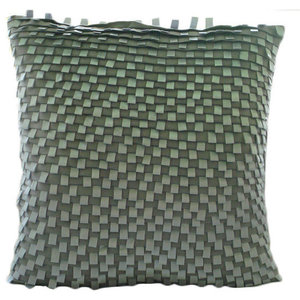 Silver Gray Lining, Silver Faux Suede Throw Cushion Covers 40x40