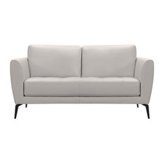 Hope Contemporary Loveseat, Genuine Dove Gray Leather With Black Metal Legs