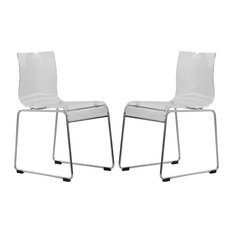 LeisureMod Lima Lucite Acrylic Dining Side Chairs Set Of 2 Clear