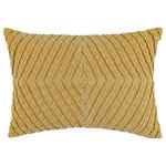 """Company C - Veronica Velvet Pillow, 14""""x20"""", Dijon - Stunningly dimensional, this textural accent pillow is crafted of bias-cut ribbed cotton velvet, which is first pleated and then pieced into a lustrous chevron diamond pattern. Solid woven cotton backing with zipper opening. Down-feather insert. 14"""" x 20"""". Colors: Blue, Cilantro, Dijon, Paprika and Teal."""