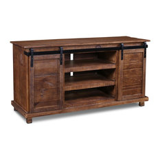 "Crafters and Weavers - Westgate Rustic Brown 66"" Sliding Barn Door TV Stand/Media Console - Entertainment Centers and Tv Stands"