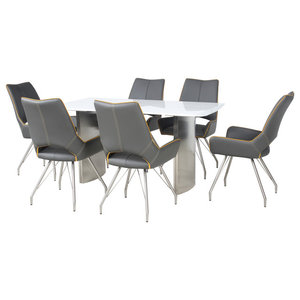 Phoenix Dining Table With 6 Melbourne Chairs, Graphite Grey, Small