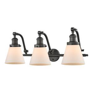 Small Cone 3-Light Bath Fixture, Cased Glass, Oil Rubbed Bronze, LED