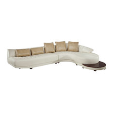 Global Furniture USA   Sectional With End Table Blanche, Ivory   Sectional  Sofas