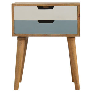 Solid Wood 2-Drawer Bedside Table, Blue