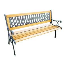"""Outdoor Patio Hardwood Cast Iron Garden Bench, 50"""""""
