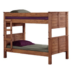 Twin Over Twin Post Bunk Bed, Mahogany Stain
