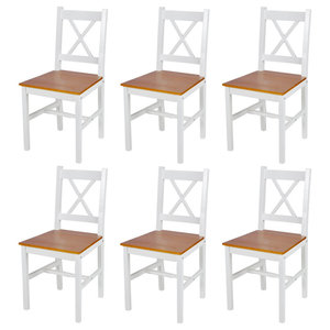 vidaXL Wood Dinning Chairs, White and Natural, Set of 6