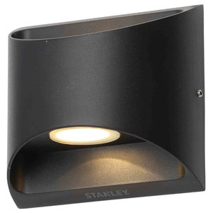 Stanley Ticino Outdoor LED Flush Aluminium Up Down LED Wall Light, Black