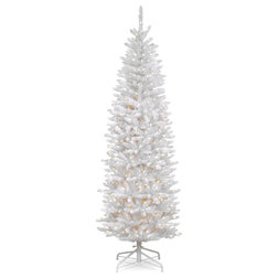 kingswood white fir pencil tree with clear lights 65 ft contemporary christmas trees by national tree company - 65ft Christmas Tree