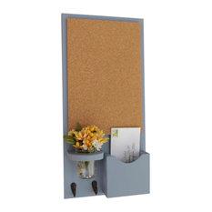 Mail Organizer, Cork Board, Single Mail Slot, Key Hooks, Mason Jars, Gray