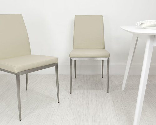 latte beige lucia brushed metal dining chair dining chairs