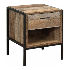 Rustic 1-Drawer Bedside, Solid Wood With Open Bottom Shelf for Extra Storage
