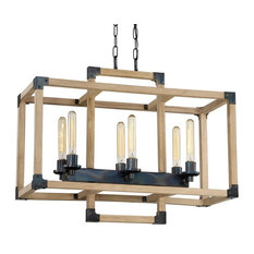Craftmade Cubic 6-Light Linear Chandelier, Fired Steel/Natural Wood