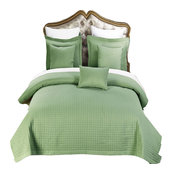 Wrinkle-Free Luxury Checkered Quilted Coverlet Set, Sage, King/Cal King