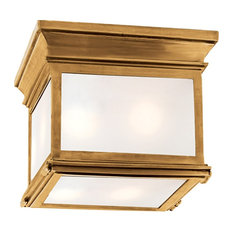 Visual Comfort Lighting Club 9-Inch Outdoor Flush Mount, Antique Brass, Frosted