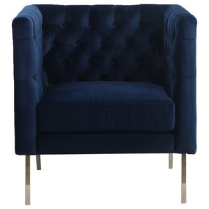 Duchess Brushed Velvet Square-Edge Armchair, Indigo Blue
