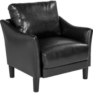 Contemporary Upholstered Chair in Black Bonded Leather