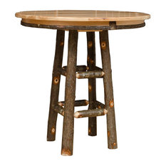 """Hickory Log Rustic Pub Table, 42"""" Round, 42"""" Tall"""