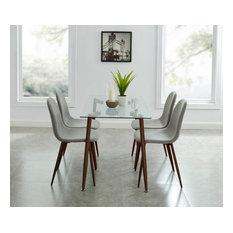 Abbot/Lyna 5-Piece Dining Set Walnut Table/Grey Chair